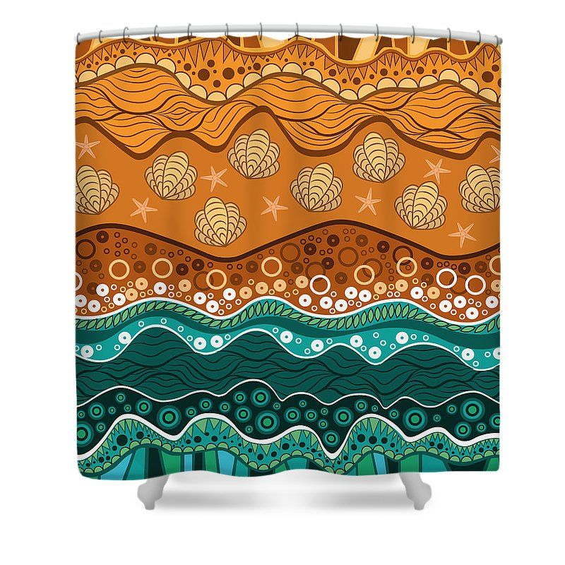 Water Shower Curtain featuring the drawing Waves by Veronica Kusjen
