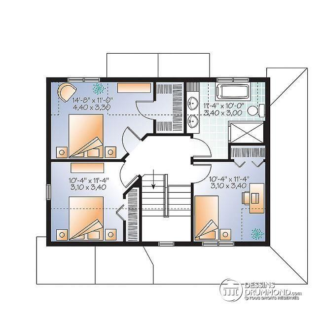 W3721 - Plan de maison style transitionnel, grand vestibule - plan maison etage m