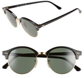 0fe22d880bd Ray-Ban Women s Clubround 51Mm Round Sunglasses - Black
