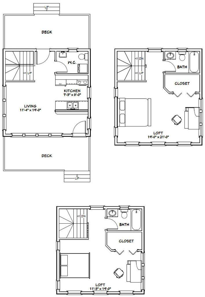 20x20 Tiny House 20X20H7B 1082 sq ft Excellent Floor Plans