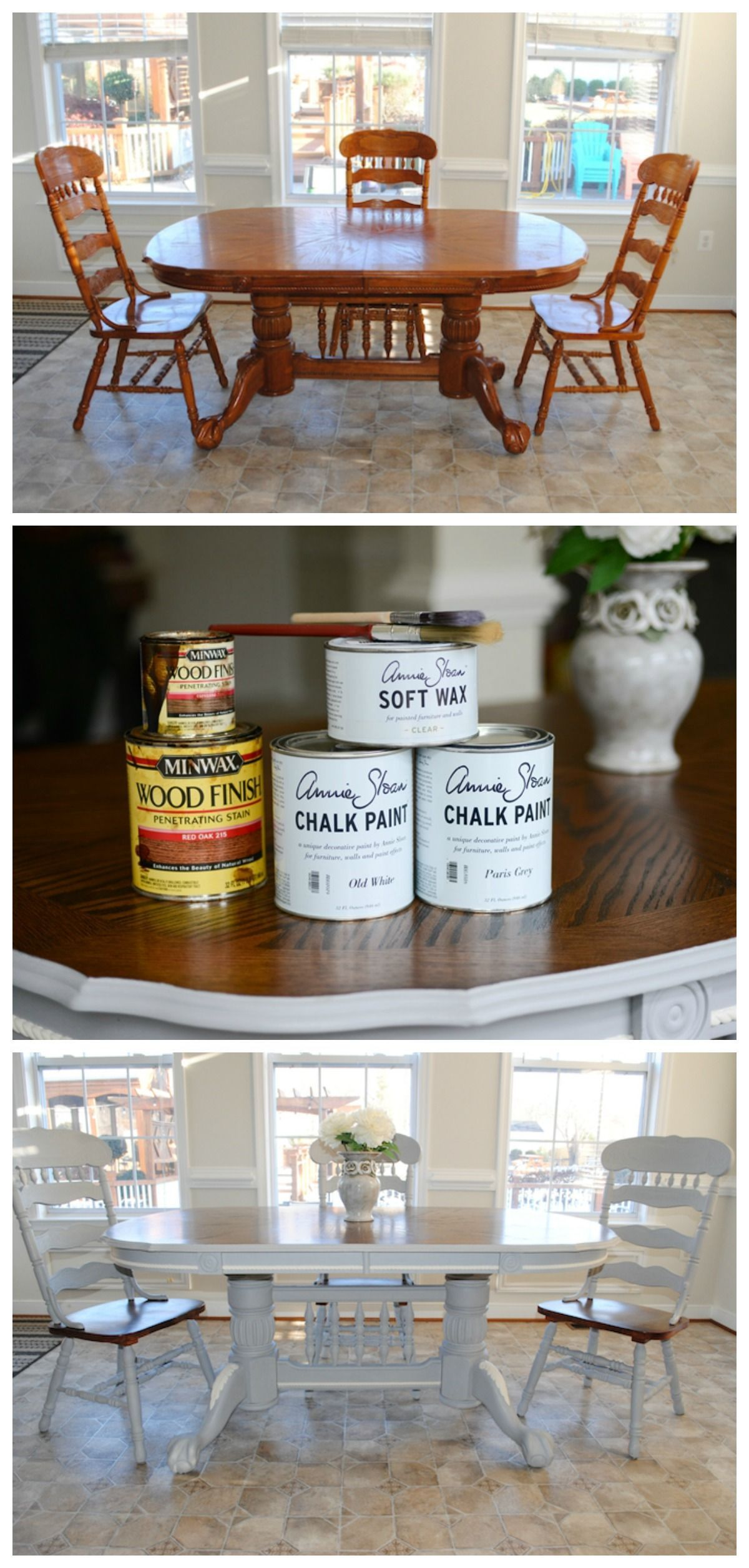 Before And After Dining Room Table Makeover With Annie Sloan Chalk Paint And Stain Ref Dining Table Makeover Kitchen Table Makeover Dining Room Table Makeover