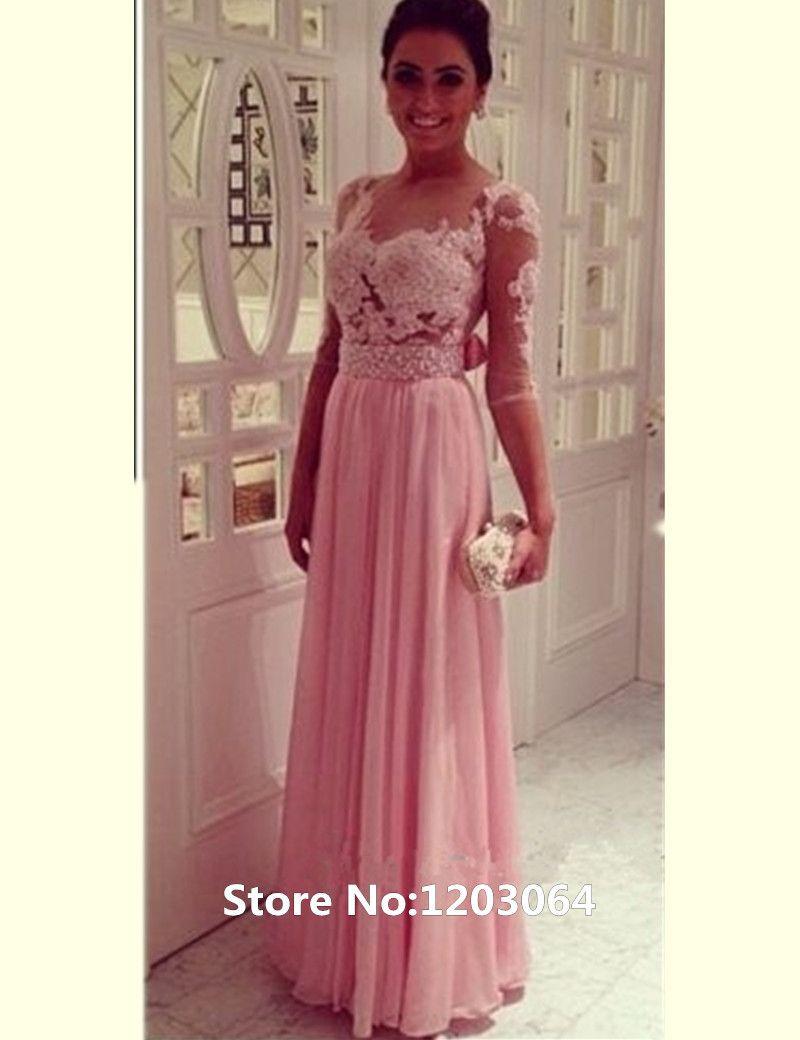 Barato Elegante decote em V longo de Chiffon rosa vestidos com as ...