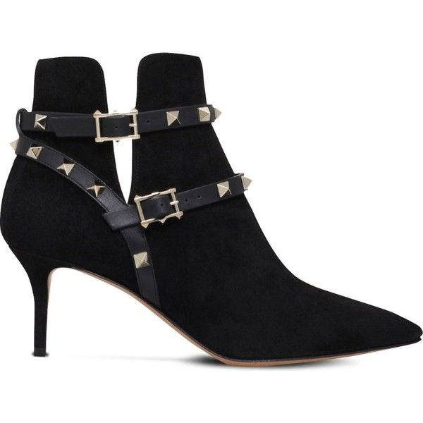 9d7234c3f097 Valentino Rockstud suede ankle boots (£695) ❤ liked on Polyvore featuring  shoes