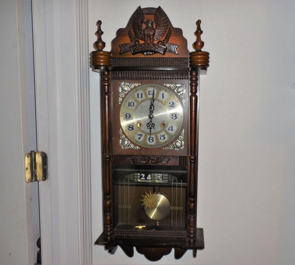 Vtg Eagle Wind Up Oak Wood 31 Day Date Chiming Wall Clock Glass Door Key Works Wall Clock Glass Chiming Wall Clocks Wall Clock