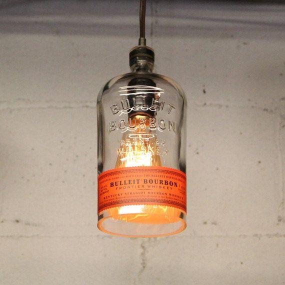 Ceiling And Lighting Ideas Red Kitchen Lights Unusual Bar: Bulleit Bourbon Bottle Pendant Light