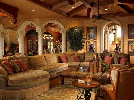 Mediterranean design - Family Room - Simmons and Saray Interiors -