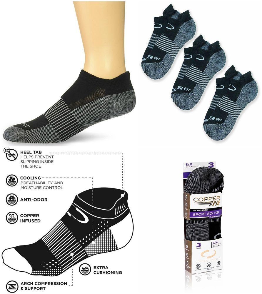 Copper fit compression socks sport no show 3 pk unisex