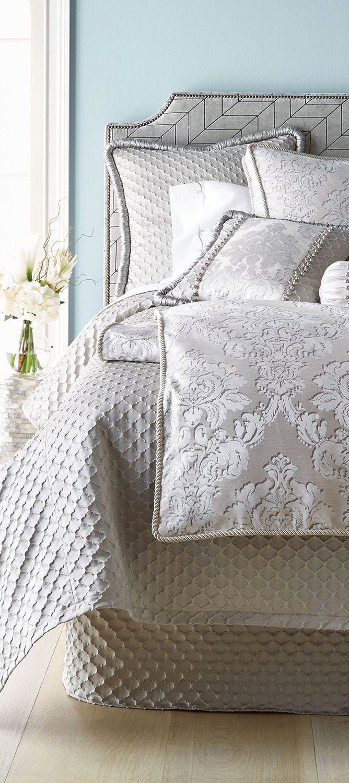 Gold/White/Blue Jacquard Silk Bedding Set Luxury 4pcs Satin Bed Set ...
