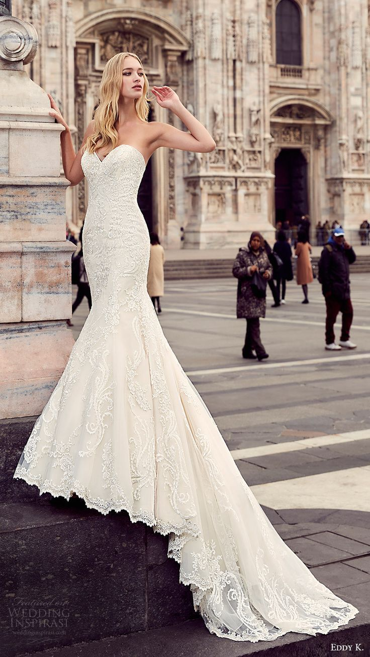 Strapless fitted lace wedding dresses  Eddy K  Wedding Dresses u Milano Bridal Collection  Wedding