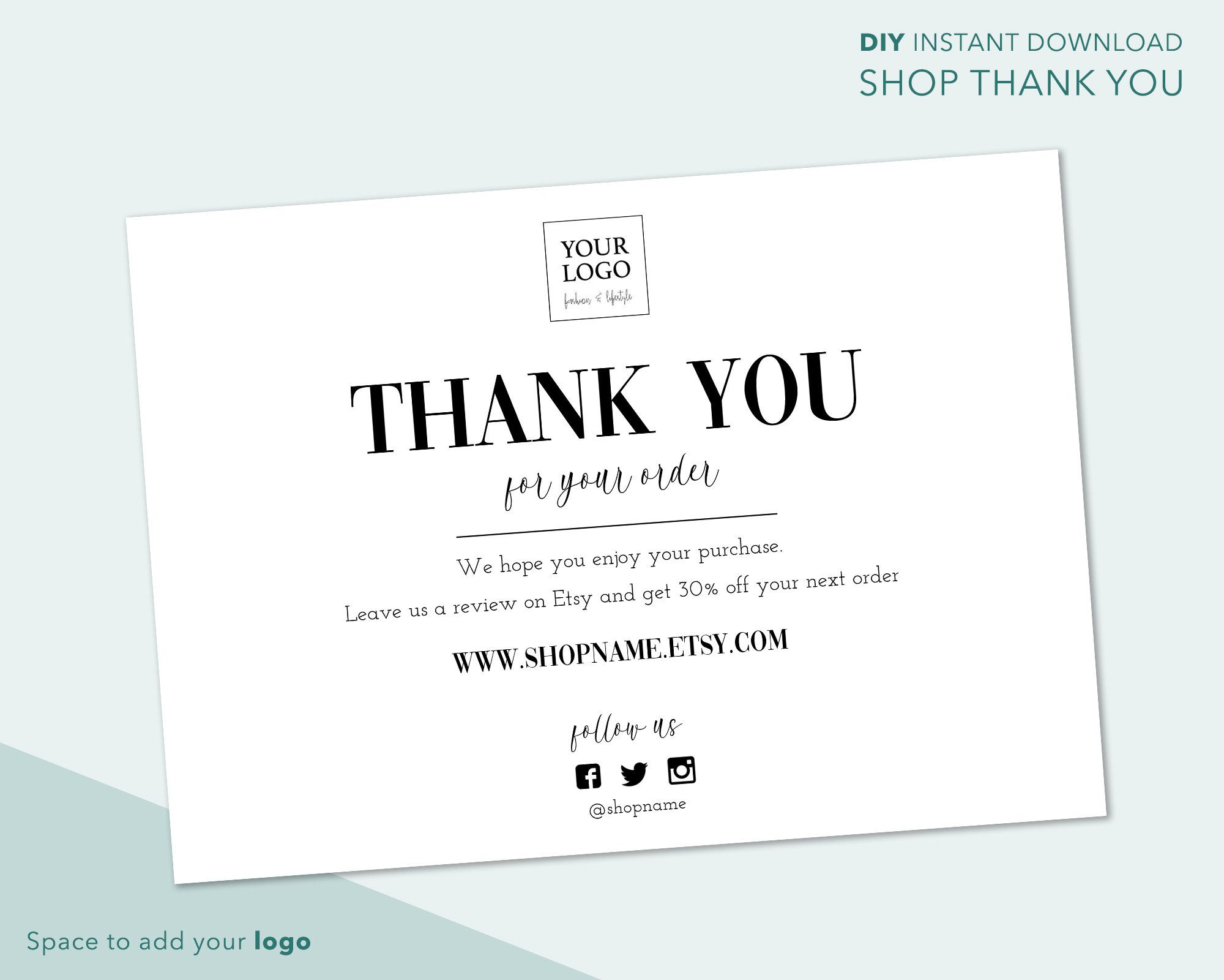 Simple Minimalist Etsy Thank You Card Black White Store Thank