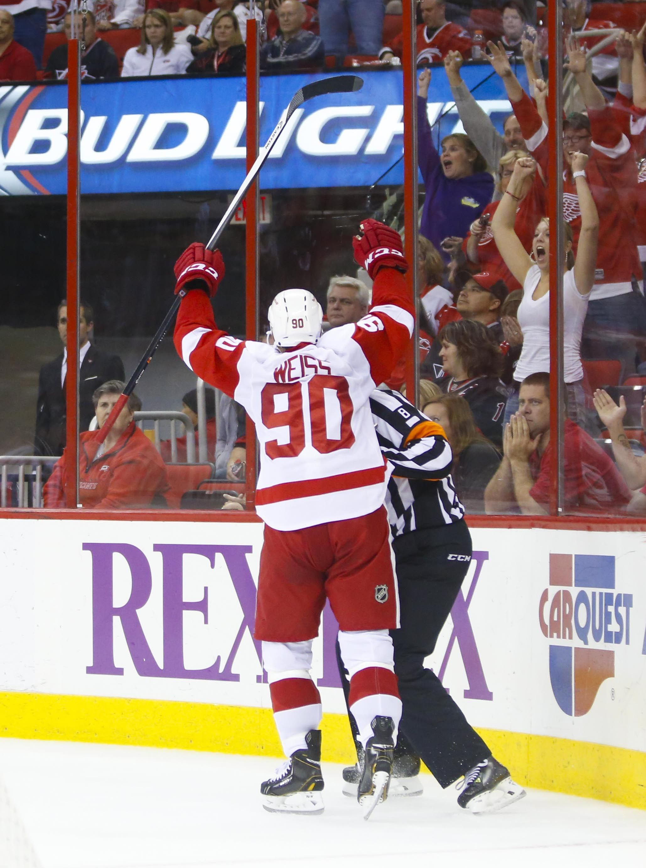 CrowdCam Hot Shot: Detroit Red Wings forward Stephen Weiss celebrates his overtime goal against the Carolina Hurricanes at PNC Center. The Red Wings won 3-2 in overtime. Photo by James Guillory
