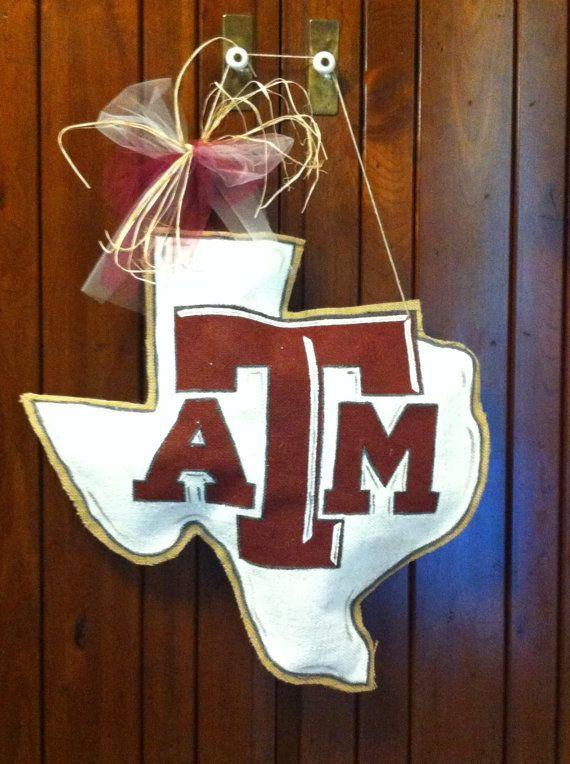 Texas A Amp M Burlap Door Hanger Burlap Decor Burlap Door