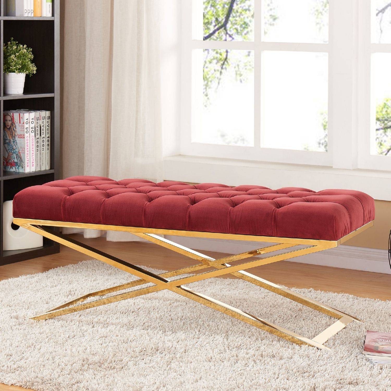 Meridian Furniture 116burg Leo Burgundy Tufted Velvet Bench On Gold Stainless Steel X Legs Lb