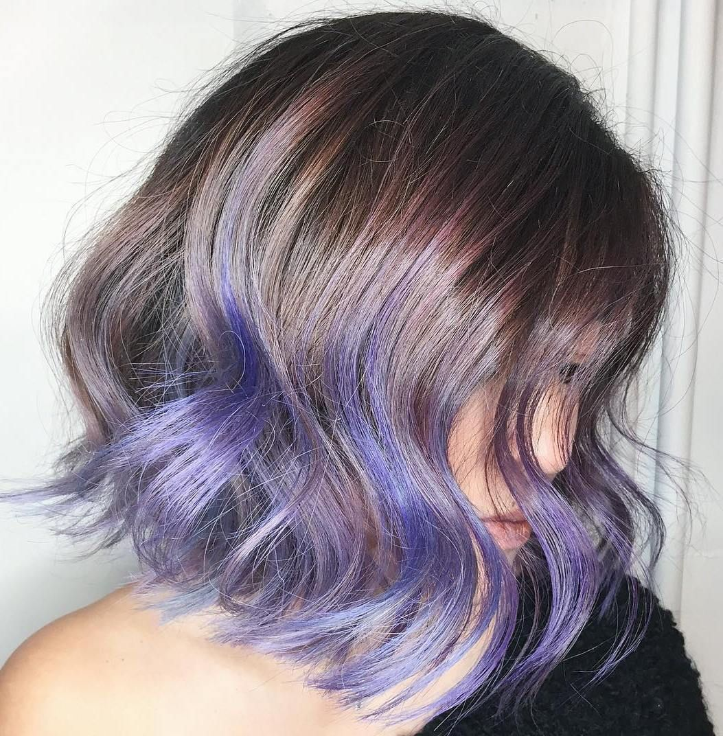 Brown Bob With Purple Ends Lavender Hair Ombre Short Purple Hair Purple Ombre Hair