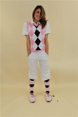 9158b17f3290 Women's Golf Outfit - White Black Pink Light Blue Overstitch | Golf ...
