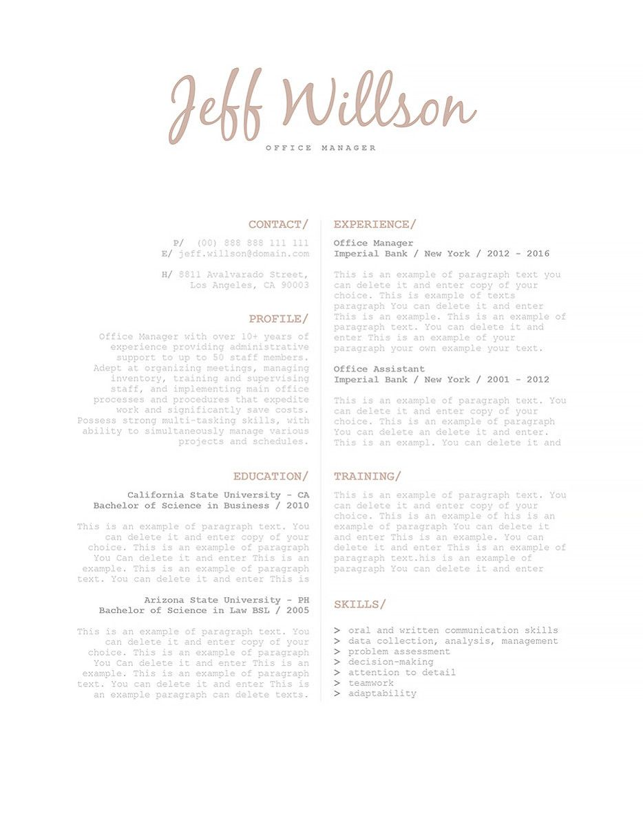 Resume Template   Ms Word Resume Templates
