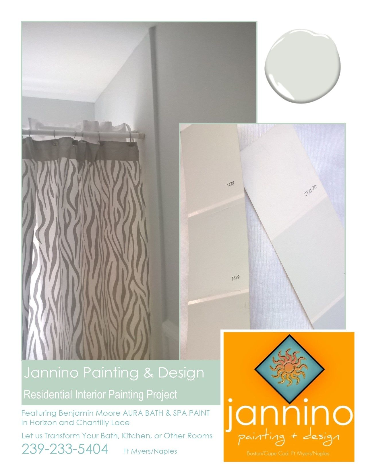 Benjamin Moore S Horizon And Chantilly Lace For This Bathroom