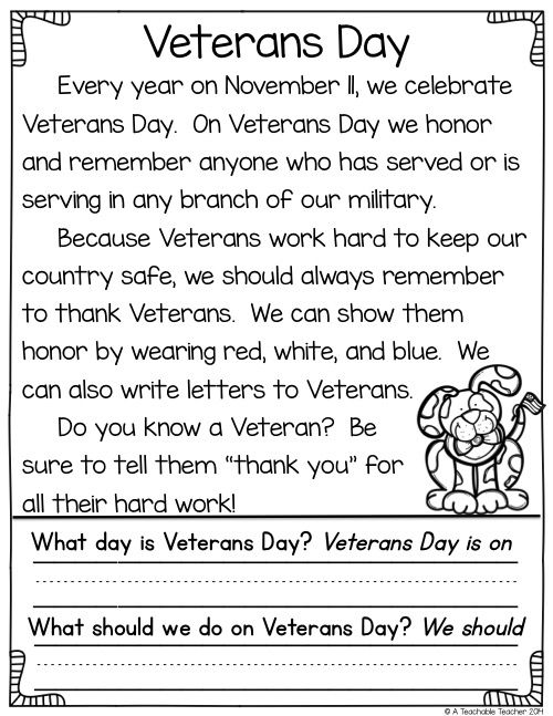 34++ Veterans day reading worksheets Images