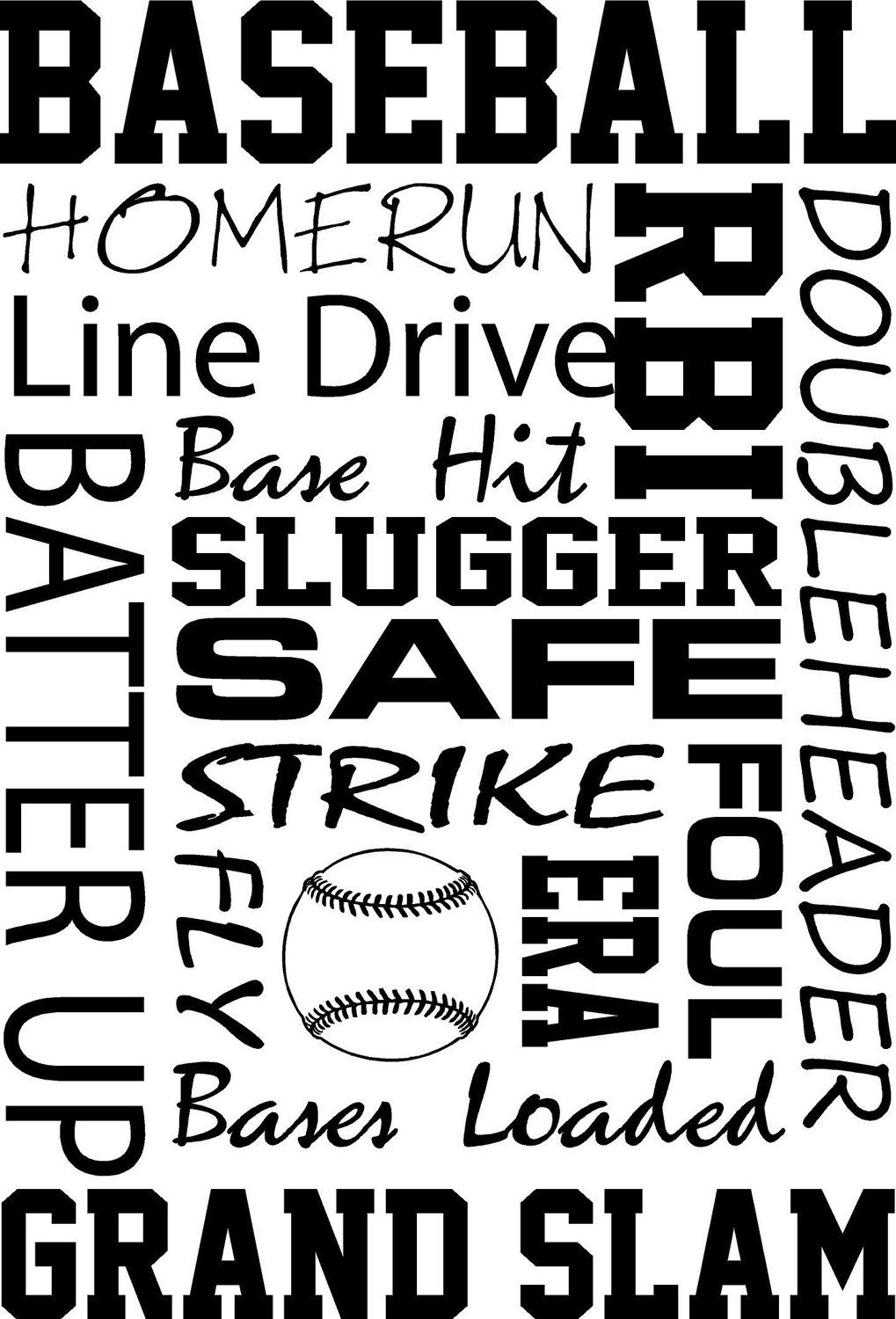 Vinyl lettering decals for crafts - Baseball Subway Art Words Vinyl Wall Decal By Grabersgraphics