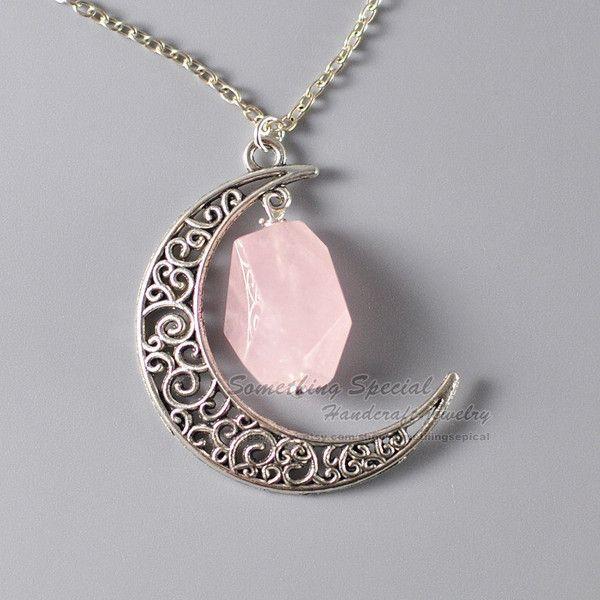 Rose Quartz Large Moon Necklace Moon Necklace Rose Quartz Necklace Silver 18 Inches Sun Necklace
