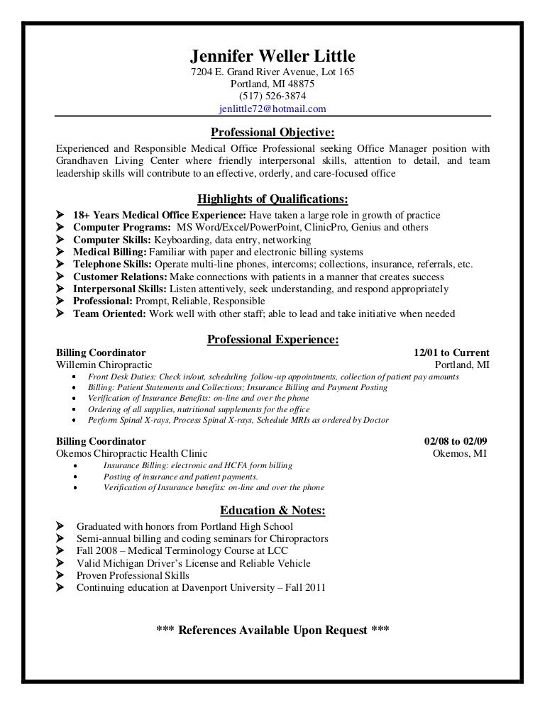 Medical Billing Supervisor Resume Sample - http\/\/resumesdesign - medical office receptionist resume