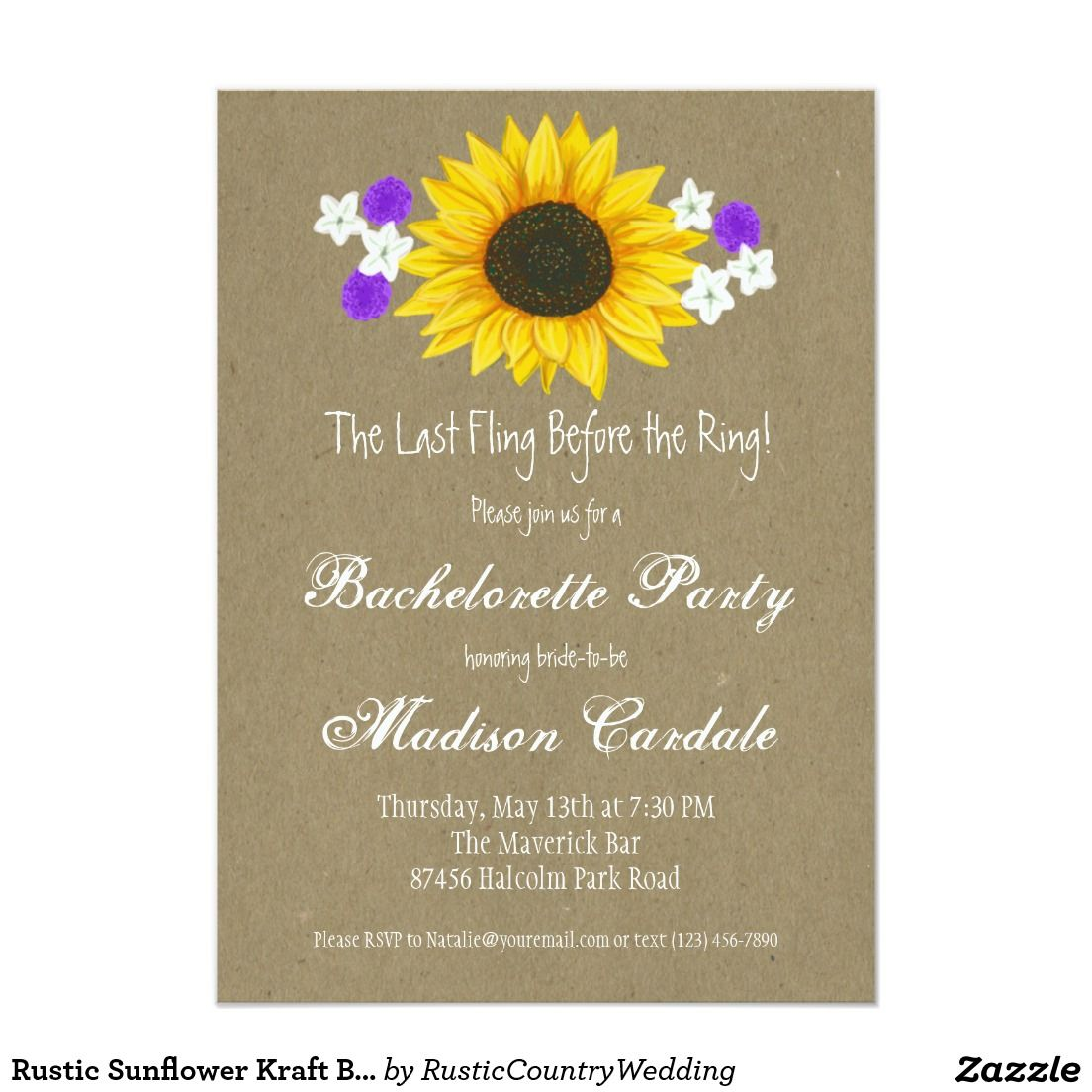 Rustic Sunflower Kraft Bachelorette Party Invites | Bachelorette ...