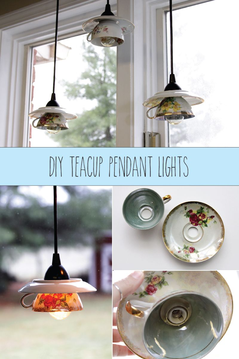 Teacup pendant light shades bodegas reciclado y cumpleaos diy how to make pendant lights using tea cups easy tutorial shows how to aloadofball Images