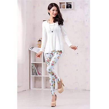 Aiduozi Fashion Floral Print Lace Contrast Color Skinny Pants_Blue - USD $ 13.99