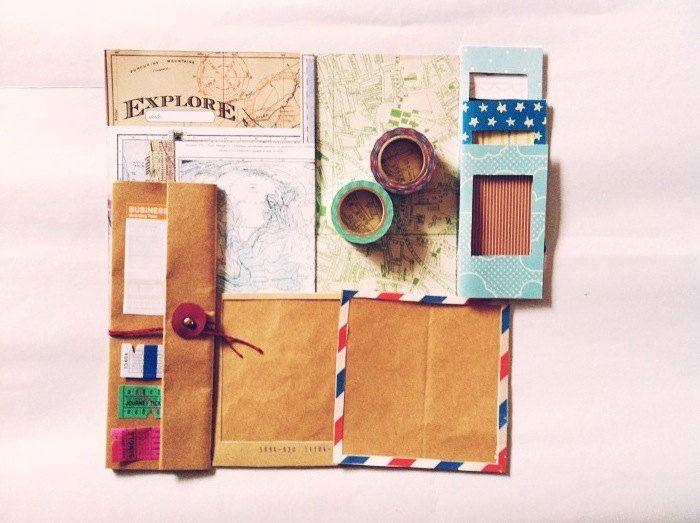 Explore Vintage Map - DIY Travel journal/Scrapbook set. $25.00, via Etsy.