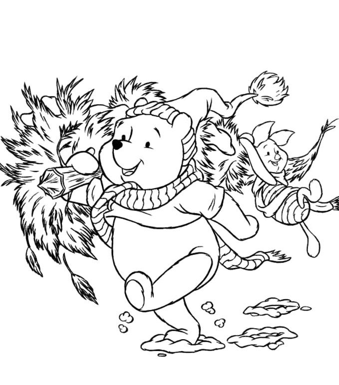 disney christmas winnie the pooh and piglet coloring pages