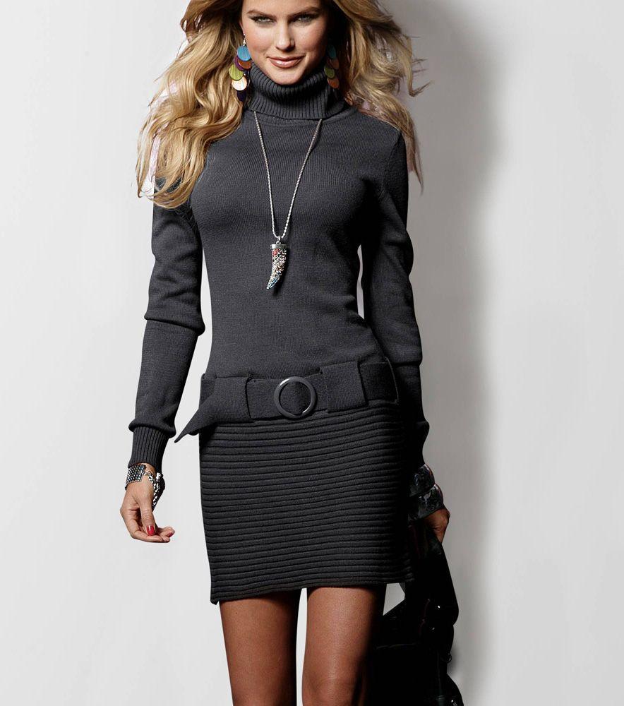 24086d32f44 Vestido punto cuello alto mujer Moda Mujer CB Venca | Ropa bonita ...