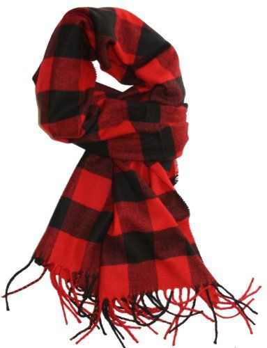 fddb3d448 LibbySue--Classic Buffalo Check Plaid, Cashmere Feel Winter Scarf in Red,  Black