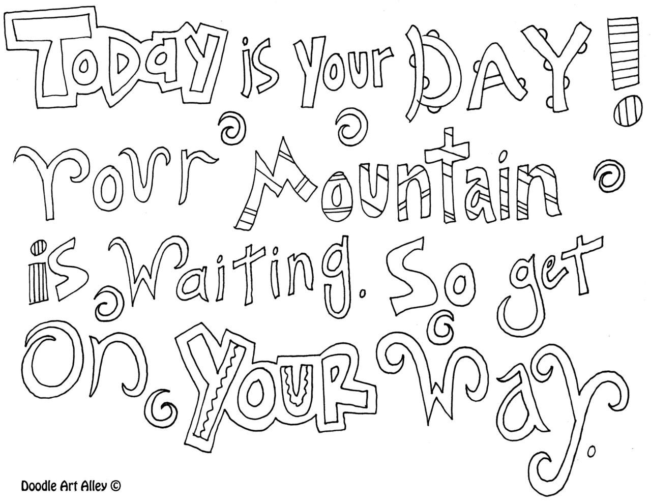 Free Doodle Quotes To Color Including Dr Seuss Quotes I