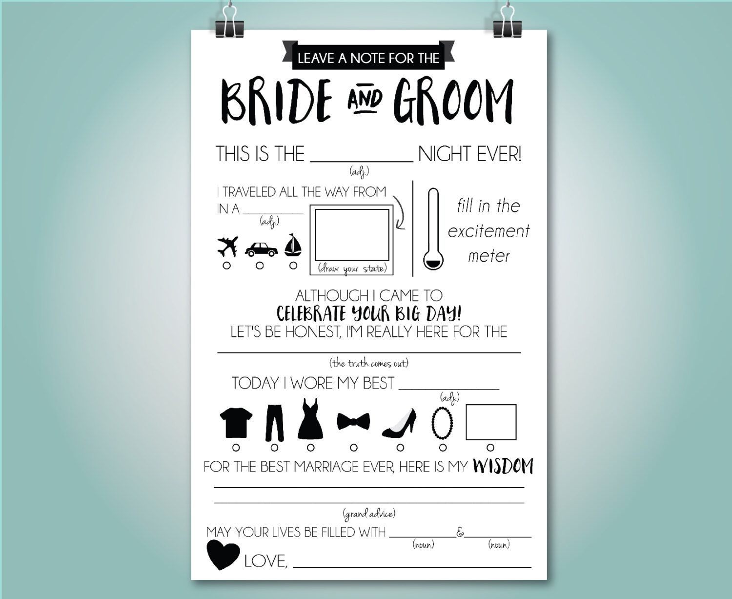 Wedding Mad Libs Wedding Advice Card Fill In The Blank
