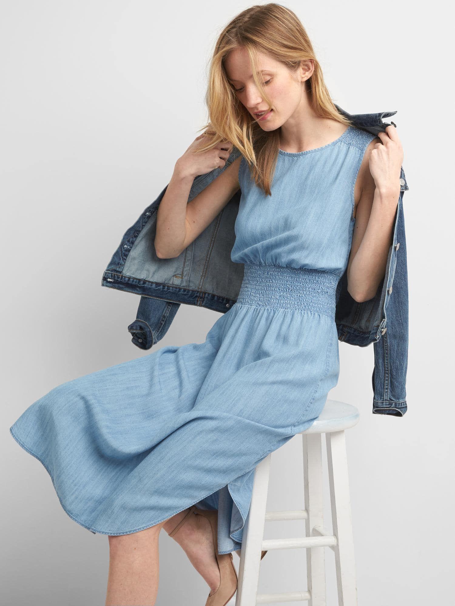 Tencel® smocked midi dress | Gap | cute outfitd | Pinterest | Midi ...