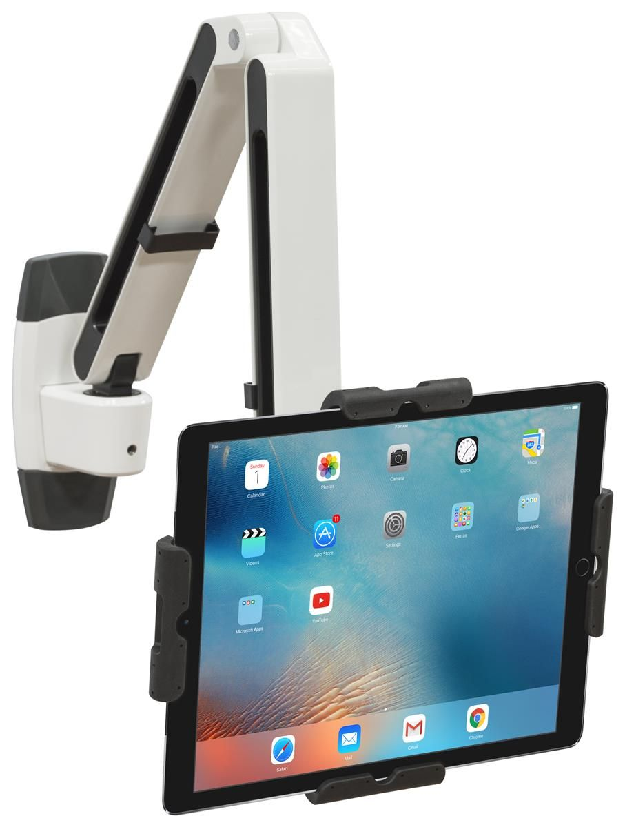 Flexstand Series Ipad Wall Mount With Adjustable Arm Tilts Locks White Black Ipad Wall Mount Tablet Wall Mount Ipad Holder