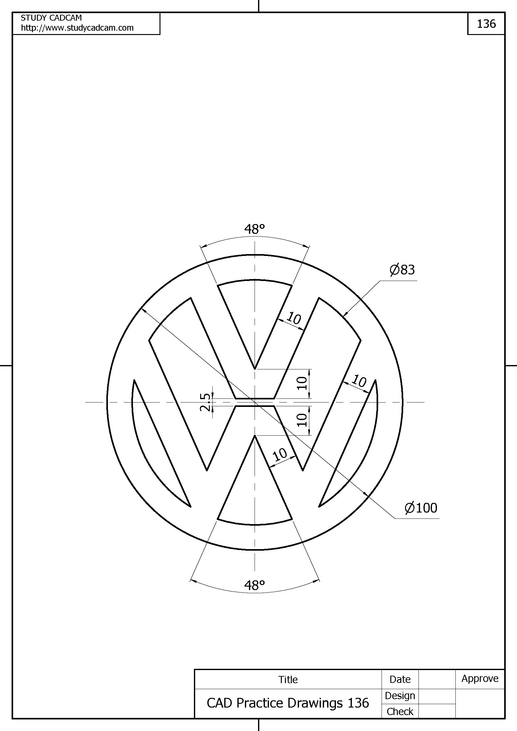 Wolswagen Dibujos En Autocad Ejercicios De Dibujo Disenos De Unas