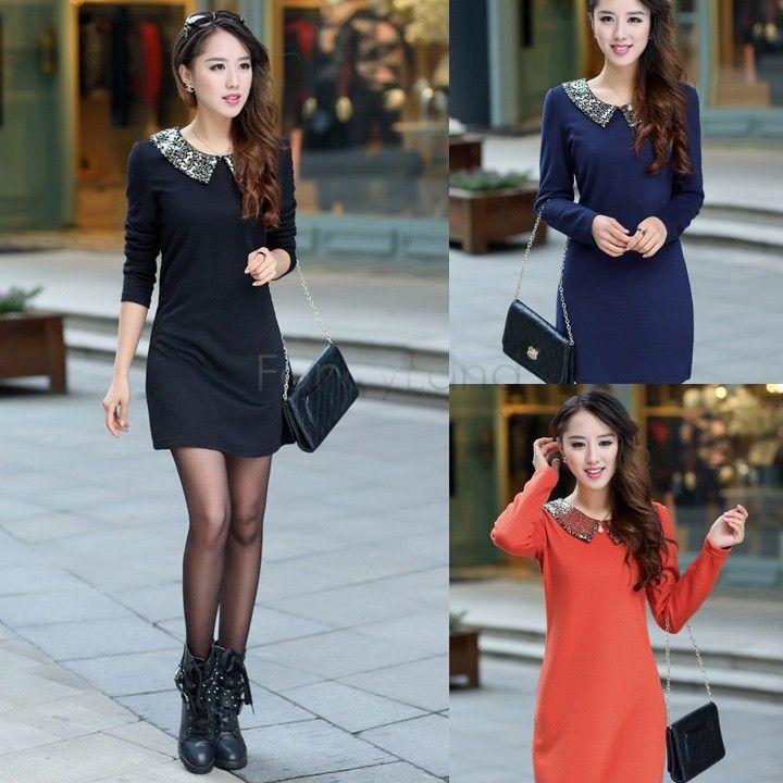 Vestido Casual manga comprida, inverno Maxi T-Shirt coreano T-Shirt das mulheres dobra vestido de camisa magro Sv18 Cb031726(China (Mainland))
