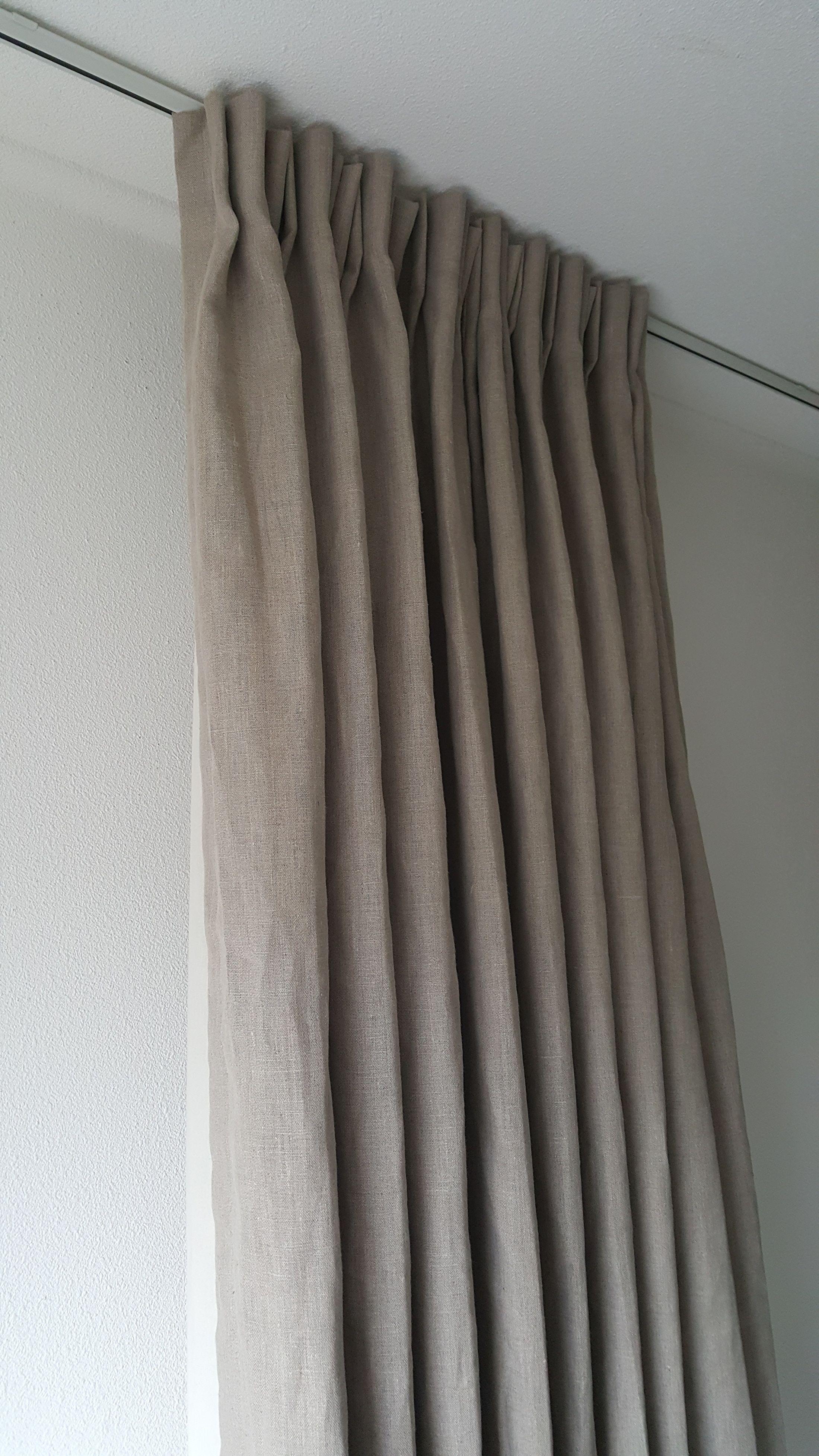 gordijnen linnen naturel yvoriwit gevoerd met katoen standaard maten op de website zijn incl ingestikte