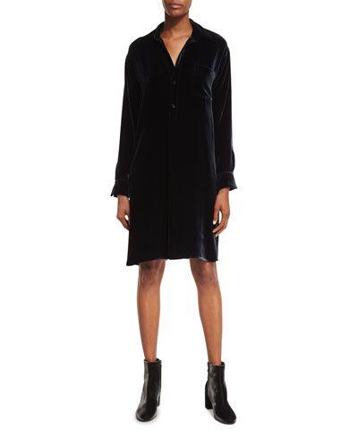 Long-Sleeve Velvet Shirtdress