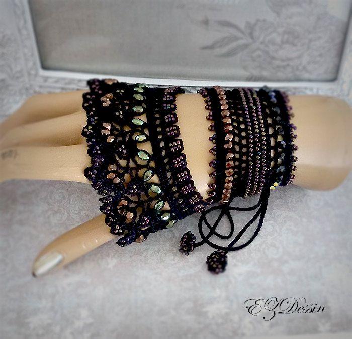 Crochet victorien bracelet dentelle embrasse, Renaissance Antique bijoux, Bracelet minable embrasse style Romantique Vintage. Bracelet Black.Beaded
