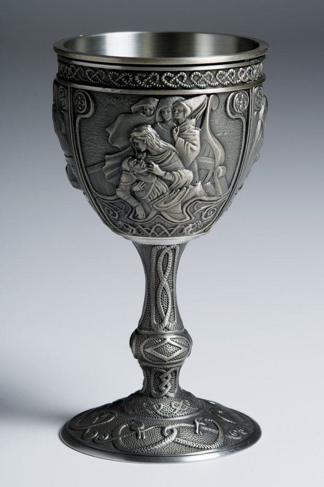 Franklin Mint Excalibur pewter goblets MORGAN LE FAY goblet wine glass