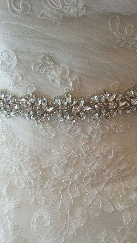 Rhinestone Crystal and Lux Satin Bridal Sash The by simplybridal1