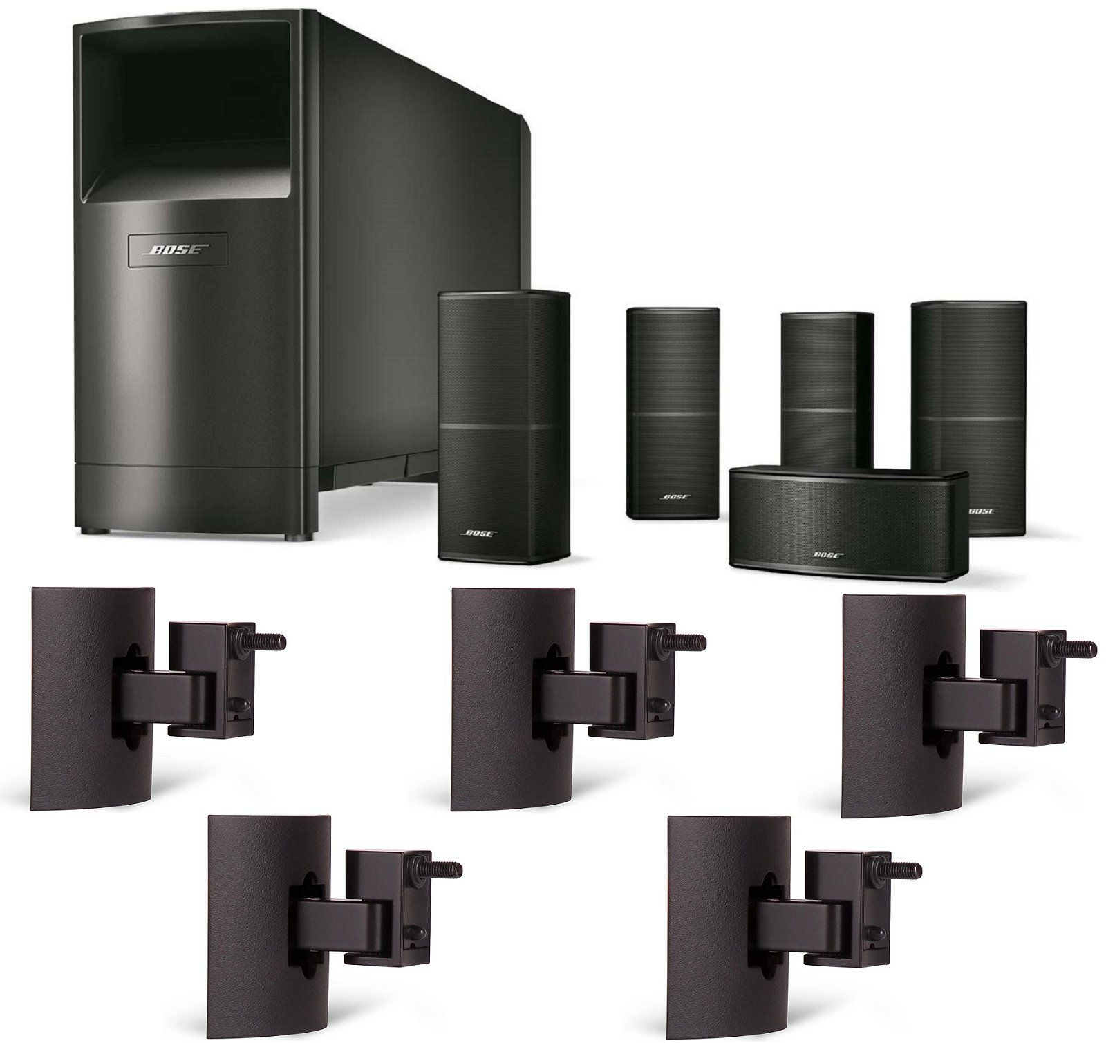 Bose Acoustimass 10 Series V Home Theater Speaker System Black Bundle With 5 Ub 20 Black Wall Home Theater Speaker System Home Theater Speakers Black Walls