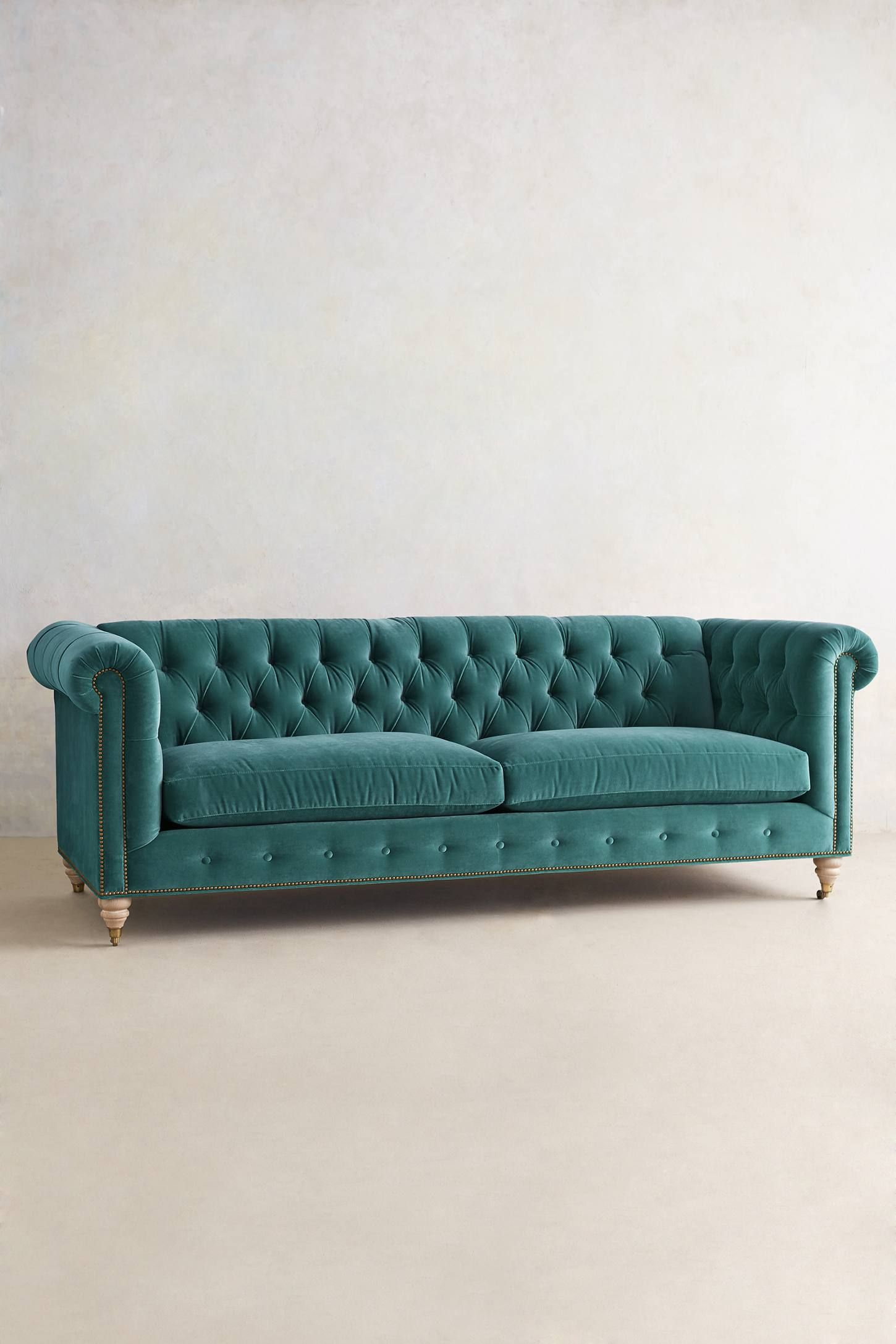 Lyre Chesterfield Sofa Teal anthropologie