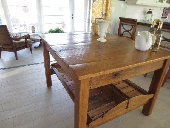 Reclaimed Oak Kitchen Island With Hopper Trays on Etsy, $1,050.00