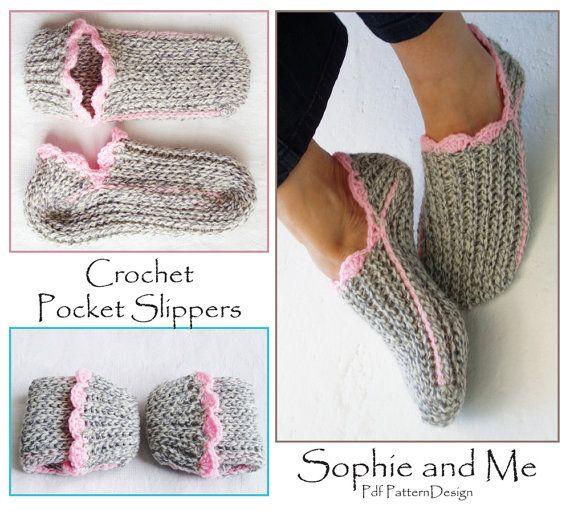 Ribbed Slipper Pocket Socks - Crochet Pattern - Instant Download Pdf ...