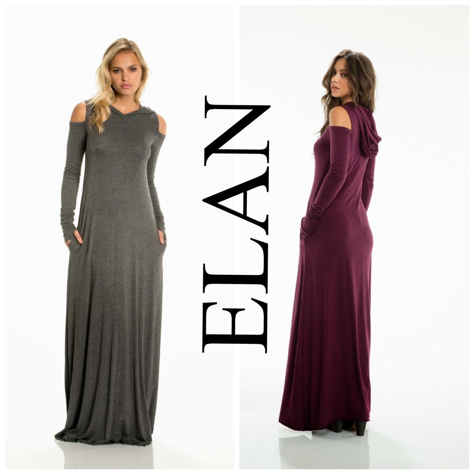 5b6d6cd1a34 ELAN MD5037 Sexy Long Sleeve COLD SHOULDER HOODIE Maxi Dress Charcoal    Burgundy