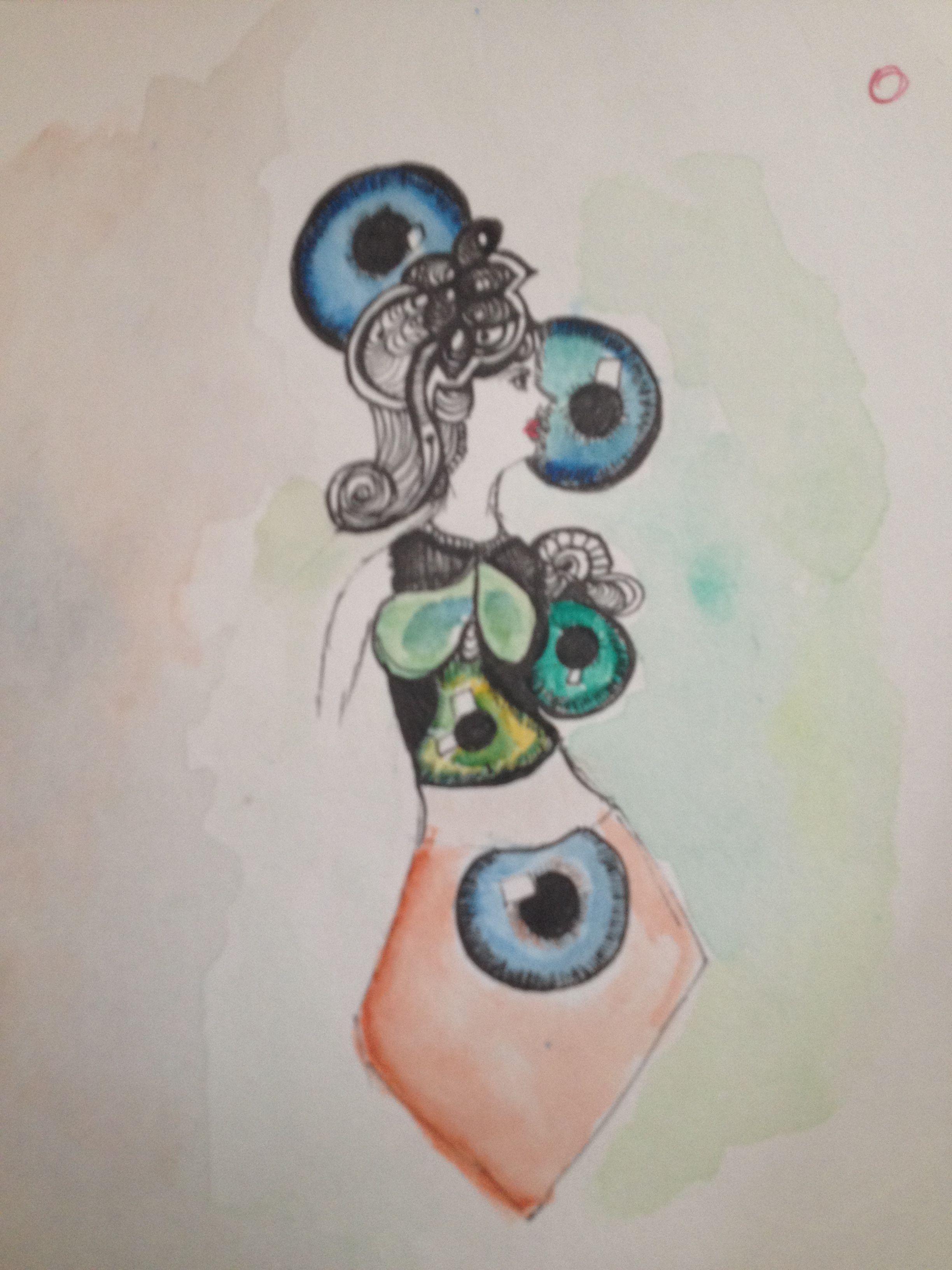 Eyes  Watercolour pen