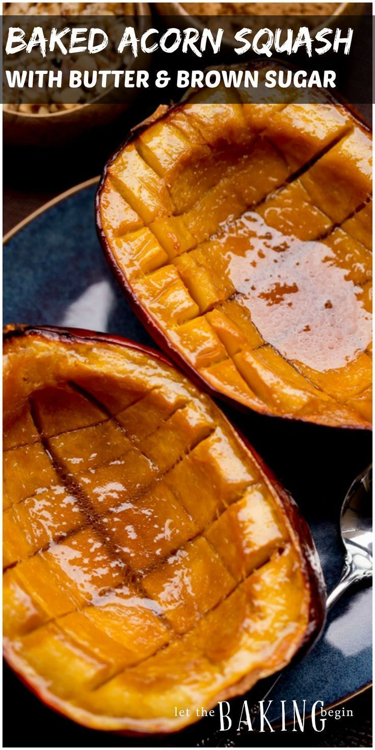 Acorn Squash with Brown Sugar and Butter is one of our favorite fall treats. This easy baked squash can be eaten for breakfast or for dinner as a dessert. The brown sugar and butter make the roasted squash tender, while the brown sugar adds caramelization and a pleasant nuttiness.